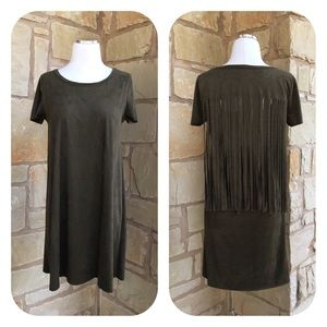 Final Touch Olive Faux Suede Fringe Open Back Top